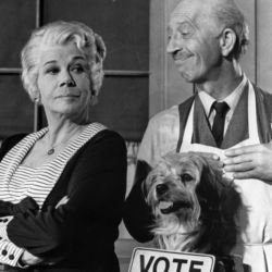 Bea Benaderet with Frank Cady and Higgins The Dog (aka Benji) on Petticoat Junction
