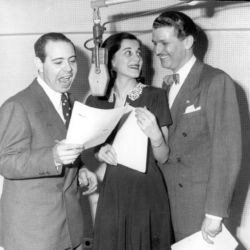 Bud Collyer (R) with Jackson Beck and Joan Alexander
