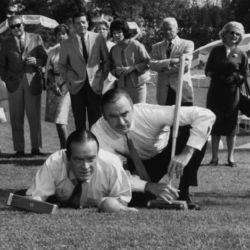 John Dehner with Bob Hope playing croquet???