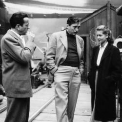 John Huston (C) with Humphrey Bogart and Lauren Bacall on set of Key Largo 1948