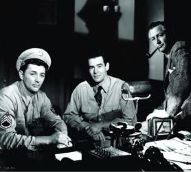 Robert Mitchum (L) in Crossfire with Robert Ryan (C) and Robert Young (R)
