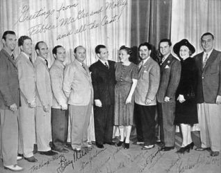 Fibber McGee and Molly Cast (L to R) The Kingsmen, Billy Mills, Jim Jordan, Marian Jordan, Harold Peary, Bill Thompson, Isabel Randolph, Harlow Wilcox