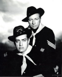 Vic Perrin with Raymond Burr in Fort Laramie