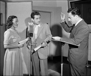 Frank Lovejoy with Betty Winkler and director, Himan Brown