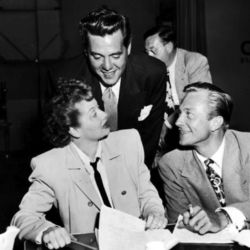 """Richard Denning (R) with Lucille Ball and her """"other"""" husband Desi Arnaz."""