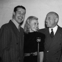 Cecil B. DeMille (R) with Don Ameche and Ginger Rogers 1937