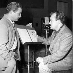 Norman MacDonnell (L) Gunsmoke Director with Bill Conrad (Marshall Dillon)