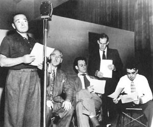 Mystery In The Air – Peter Lorre (Left); Hans Conried (Middle) Harry Morgan (2nd From Right)