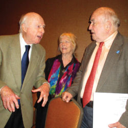 Norman Lloyd (L) with Peggy Webber and Ed Asner (California Artists Radio Theatre)