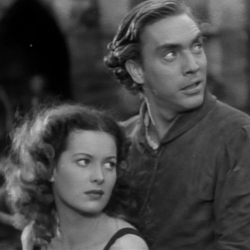 Edmond O'Brien with Maureen O'Hara in Hunchback Of Notre Dame 1939