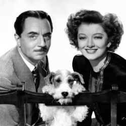 William Powell, Asta (Skippy) and Myrna Loy in The Thin Man