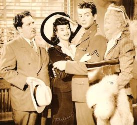 Harold Peary (L) with Ginny Simms, Victor Mature and Lucille Ball (Seven Days Leave 1942)