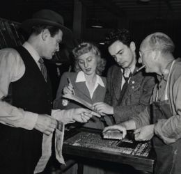 (L to R ) Wally Maher, Mary Jane Croft, Elliott Lewis and unidentified man.