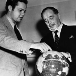 H.G. Wells (R) with Orson Welles