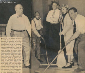 Duffy's Tavern Cast (L-R) Charlie Cantor, Eddie Green, Ed Gardner, Florence Hallop, Alan Reed