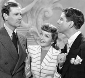 Rudy Vallee (R) with Joel McCrea and Claudette Colbert (The Palm Beach Story 1942)